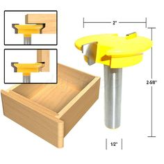 """Drawer Lock Front Router Bit 1/2"""" Shank Woodworking Milling Cutter Reversible"""