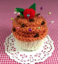 Cupcake KNITTING PATTERN Pincushion Pumpkin by LiliaCraftParty