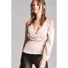 Forever21 Satin Open-Shoulder Peplum Top ($28) ❤ liked on Polyvore featuring tops, champagne, cut-out shoulder tops, cross over top, cold shoulder tops, satin top and peplum tops