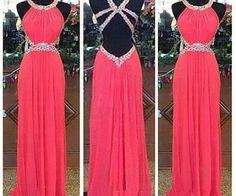 Vestido ELEGANTE Con Espalda Descubierta Y PEDRERIA ROSA ♥