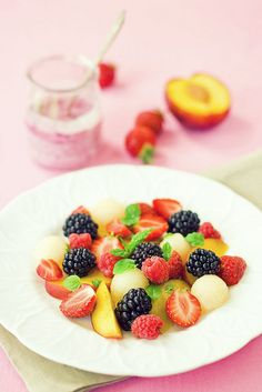 fresh fruit | Blueberry Peach Fruit Salad with Thyme Recipe - Canned ...