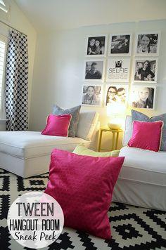 Tween hangout room - love the selfie photo wall!