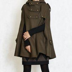 Loving this military green uniform inspired coat