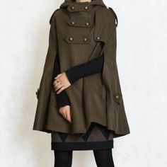Loving this military green uniform inspired coat