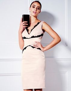 LIPSY VIP LACE INSERT CROSS-BODY DRESS