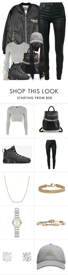 """""""Winter Woes"""" by oh-aurora ❤ liked on Polyvore featuring Versace, Topshop, rag & bone, 7 For All Mankind, David Yurman, Blue Nile, Burberry, October's Very Own, women's clothing and women"""