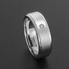 Tungsten Wedding Bane 8mm Men's Ring Brushed with CZ Step Edge Comfort Fit