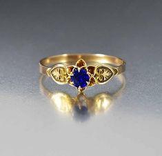 Antique Victorian Gold Sapphire Engagement Ring - Boylerpf