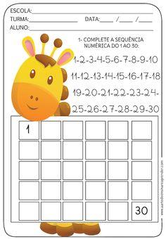 Atividade pronta - Sequência numérica do 1 ao 30 - A Arte de Ensinar e Aprender First Grade Worksheets, Kindergarten Math Worksheets, School Worksheets, Preschool Activities, Preschool Writing, Preschool Learning, Math For Kids, Kids Education, Planer