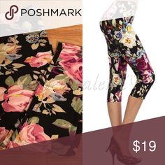 Floral Brush Knit Crop Leggings MEGA SOFT premium quality brushed fine knit stretchy crop leggings in gorgeous flowery print. Beautiful bold colors are sensational.  Feels like absolute butter on your skin - you will love the comfort and softness!  OSFM Women- I would say ideal for 2-12 women.  SO stretchy & fits most heights & sizes. 92% poly, 8% spandex. Cold water wash  Price is firm unless bundled  ✅SUPER FAST SHIPPING & GORGEOUS WRAPPING TheresaLena Boutique Pants Leggings