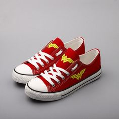 Custom Printed Low Top Canvas Shoes - Wonder Woman