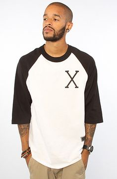 The X Baseball Tee in Black & White by Freshjive