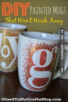 Sweet - Great personalized DIY mugs, could be a great gift for the holidays, especially given alongside a fresh bag of whole bean Tylers Acid-Free Organic Coffee! www.tylerscoffees.com coffee crafts holiday gifts diy healthy organic