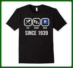 Mens Eat Sleep Rave Since 1939 T-Shirt 78th Birthday Gift Shirt Large Black - Birthday shirts (*Amazon Partner-Link)