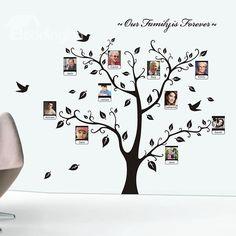 Sticker mural arbre cadre photo Family is Forever