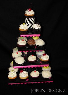 Zebra black white hot pink cupcake stand This was a fun stand that we did for my daughters birthday, hot pink, black and zebra print polka-dots!