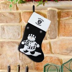 Oakland Raiders Black Fabric Snowman Stocking