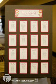 Custom seating chart- Image courtesy of Trevor Brucki www.bruckistudio.com Event planning, coordination and decor by MWs www.madelinesweddings.com