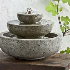 Campania Cast Stone Platia Garden Terrace Fountain - Modern - Outdoor Fountains - Hayneedle