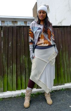 Ivory Cream Knit Upcycled Recycled Asymetrical Skirt              Made in England UK