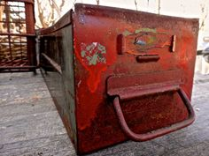 Metal Drawer Red Cubby Drawer Industrial Storage by MaxsUniquities