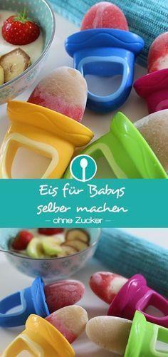 Eis für Babys schnell und einfach selber machen. Ich zeige euch wie ihr aus Obst ein zuckerfreies Eis für Babys machen könnt.