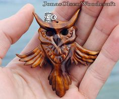 Wooden owl pendant by JOVictory…