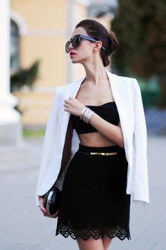 Black and White fashion black lace white skirt blazer fashion photography