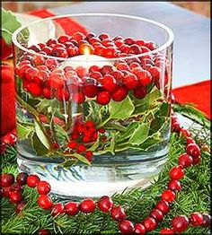 Another nice floating candle idea.........looks like Holly leaves topped with cranberries.......