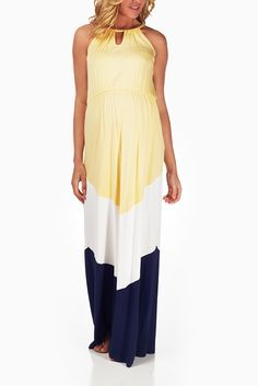 Yellow-White-Navy-Blue-Colorblock-Maternity-Maxi-Dress #maternity #fashion