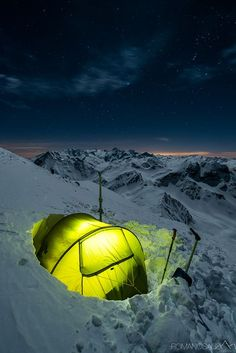 Light up the winter nights! Cold weather camping in the mountains - a magical wa. - Light up the winter nights! Cold weather camping in the mountains – a magical way to enjoy the sn - Camping And Hiking, Snow Camping, Cold Weather Camping, Winter Camping, Camping Life, Camping Hacks, Camping Ideas, Backpacking, Get Outdoors