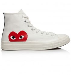 Comme Des Garcons Play Converse Chuck Taylor All Star Hi Sneakers - Trouva Converse Chuck Taylor All Star, Converse All Star, White Chuck Taylors, Designer Trainers, Heart Logo, White Converse, Designer Clothes For Men, Taylor S, Online Fashion Stores