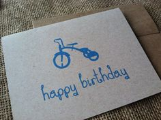 Happy Birthday - Vintage Bike Series -  Note Card - Greeting Card - Boy - Girl - Blue - Pink - Recycled - Eco Friendly