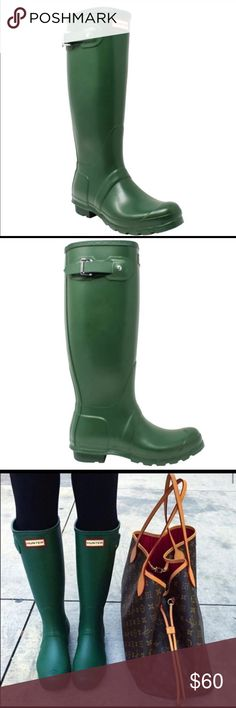 Green Hunter boots In fantastic condition. I purchased from another Posher and didn't realize how muscular my calves were 😂 I'm planning on buying another pair with a bigger calf circumference. These are the original green matte! Not gloss! In FLAWLESS condition!!!! Fits a size 10 Hunter Shoes Winter & Rain Boots
