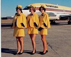 Transair Canada Stewardesses #vintage Air Hostess Uniform, Airline Uniforms, Airline Flights, Cabin Crew, Trolley Dolly, Fly Girls, Flight Attendant, Air Travel, Jets