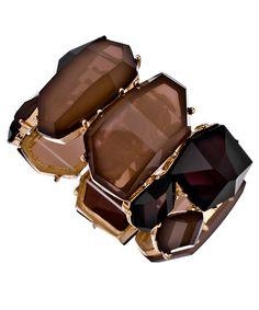 Blu Bijoux Gold, Brown and Tan Stretch Cuff Bracelet @ maxandchloe.com