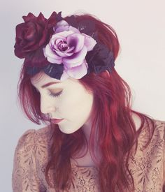 Midnight Rose Flower Hair Crown