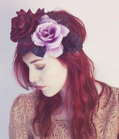 Midnight Rose Flower Hair Crown
