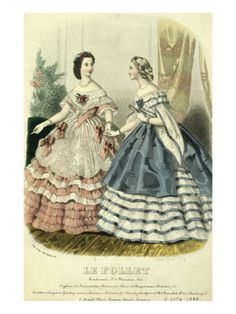 Two Ladies in Ball Dresses, France, Mid-19th Century  pink dress for the Christmas  ball