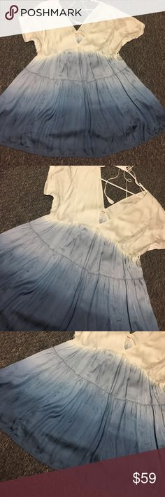 FREE PEOPLE BLUE OMBRÉ DRESS XS NEW Never worn can't find stock pic :-( Free People Dresses Mini