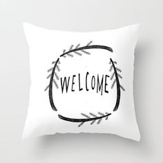 Home Decor Throw Pillow Cover, Black and White Illustrated and Typographic Handlettered Decorative Welcome Pillow