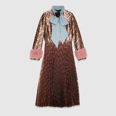 Zig zag lurex plissé dress