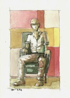 homem sentado carvão café e aquarela sobre papel Canson Aquarela 300 lbs, http://rogbessa.blogspot.com.br