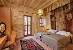 "EXCLUSIVE SUITES BOUTIQUE HOTEL. MEDIEVAL TOWN, RHODES, GREECE. - ""Orhan"" suite. Bedroom.- kokkiniporta.com Medieval Town, Rhodes, Old Town, Modern Design, Greece, Bedrooms, Boutique, Mansions, Luxury"