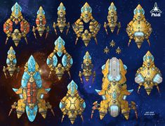 """A batch of Gremak ship assets for theStars in Shadow game project, in both """"Imperial"""" and """"Marauder"""" color schemes. Gremak warships can be observed in two very distinct color schemes: the ivo..."""