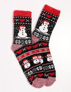 Santa Snowman Slipper Socks | dressbarn