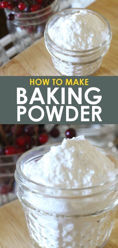 Make your own store bought baking powder substitute with this easy 3 ingredient recipe! Control your ingredients for all natural, organic baking powder! Make Baking Powder, Baking Powder Recipe, Substitute For Baking Powder, Homemade Baking Powder, Baking Soda For Dandruff, Baking Soda Shampoo, Dry Shampoo, Clarifying Shampoo, Deserts