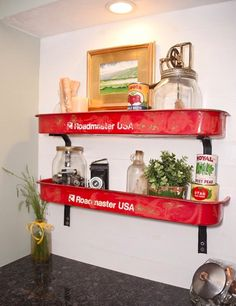 Vintage radio flyer wagon cut in half, and turned into shelves!