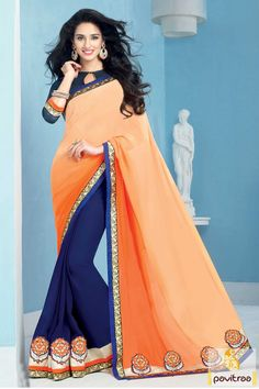 Latest new arrival wedding special cream and cobalt blue silk georgette saree online with orange embroidered patch work. Diwali Special Discount Offer:  5% OFF FOR Buy 1 Product 10% OFF FOR Buy 2 Product 15% OFF FOR Buy 3 Product or more #saree, #embroiderysaree, #partywearsaree, #weddingwearsaree, #sareewithblouse http://www.pavitraa.in/store/party-wear-saree/ callus: +91-7698234040