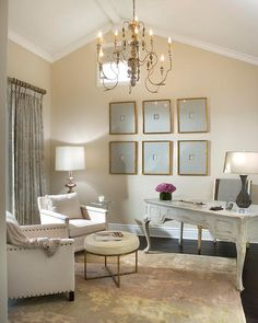 Vallone Design: Classic but modern home office with white vaulted ceilings and latte colored walls match ...